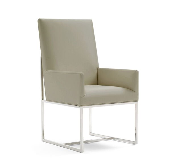 GAGE TALL ARM DINING CHAIR, ALLOY - PEWTER, hi-res