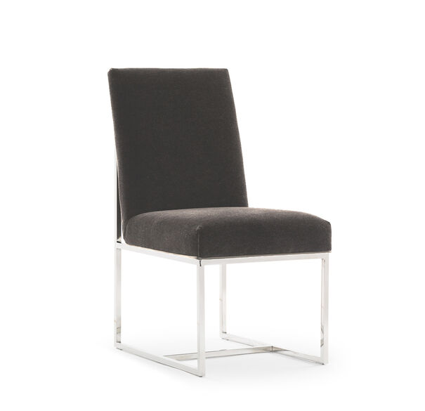 GAGE LOW DINING CHAIR, MOHAIR - STEEL, hi-res