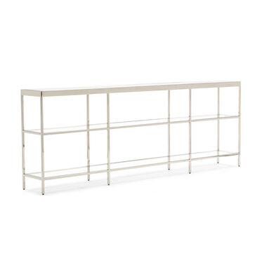 VIENNA LOW BOOKCASE LARGE - POLISHED STAINLESS STEEL, , hi-res