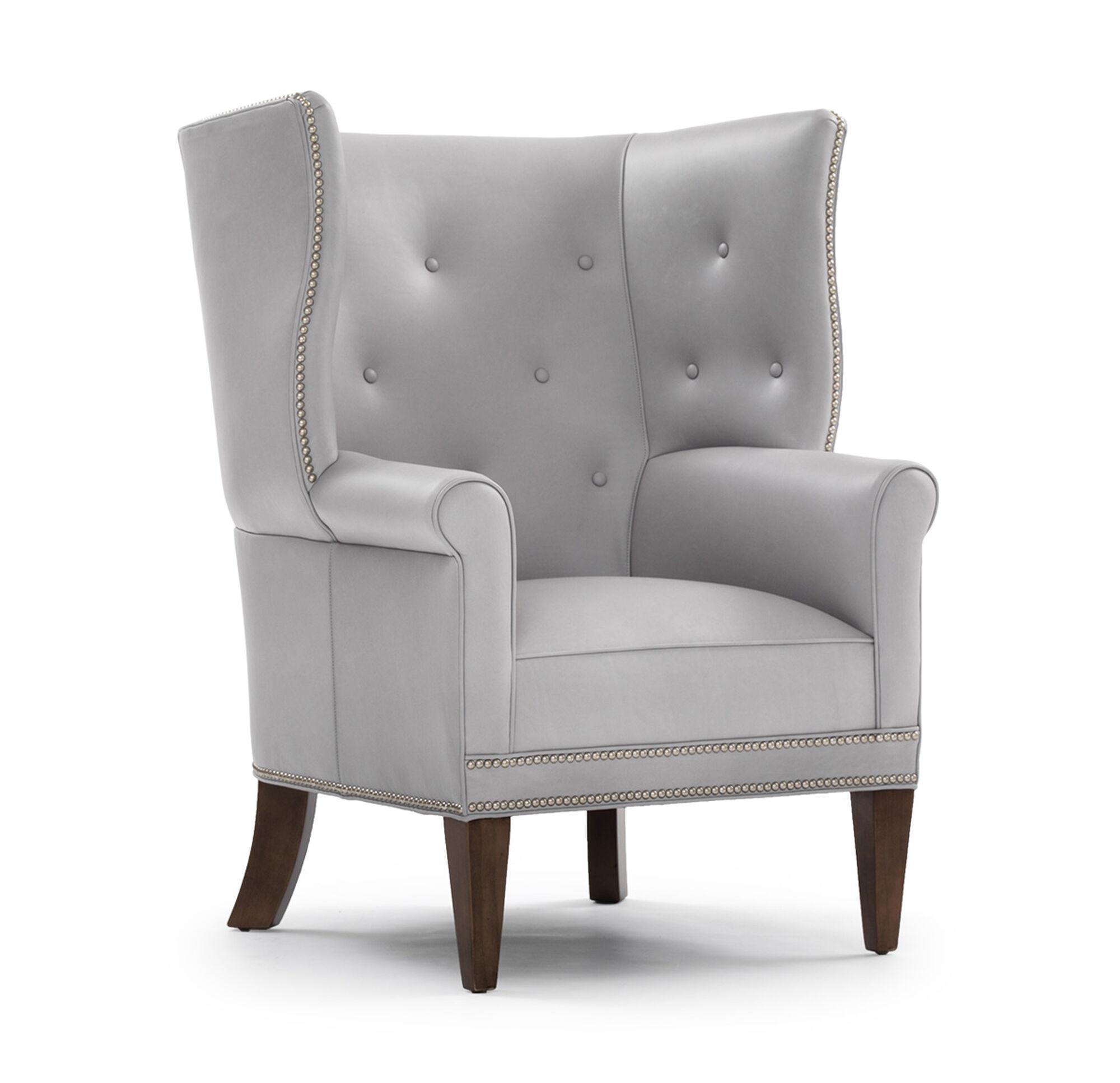 White leather wing chair - White Leather Wing Chair 3