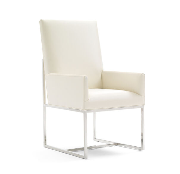 GAGE TALL ARM DINING CHAIR, ALLOY - WHITE, hi-res