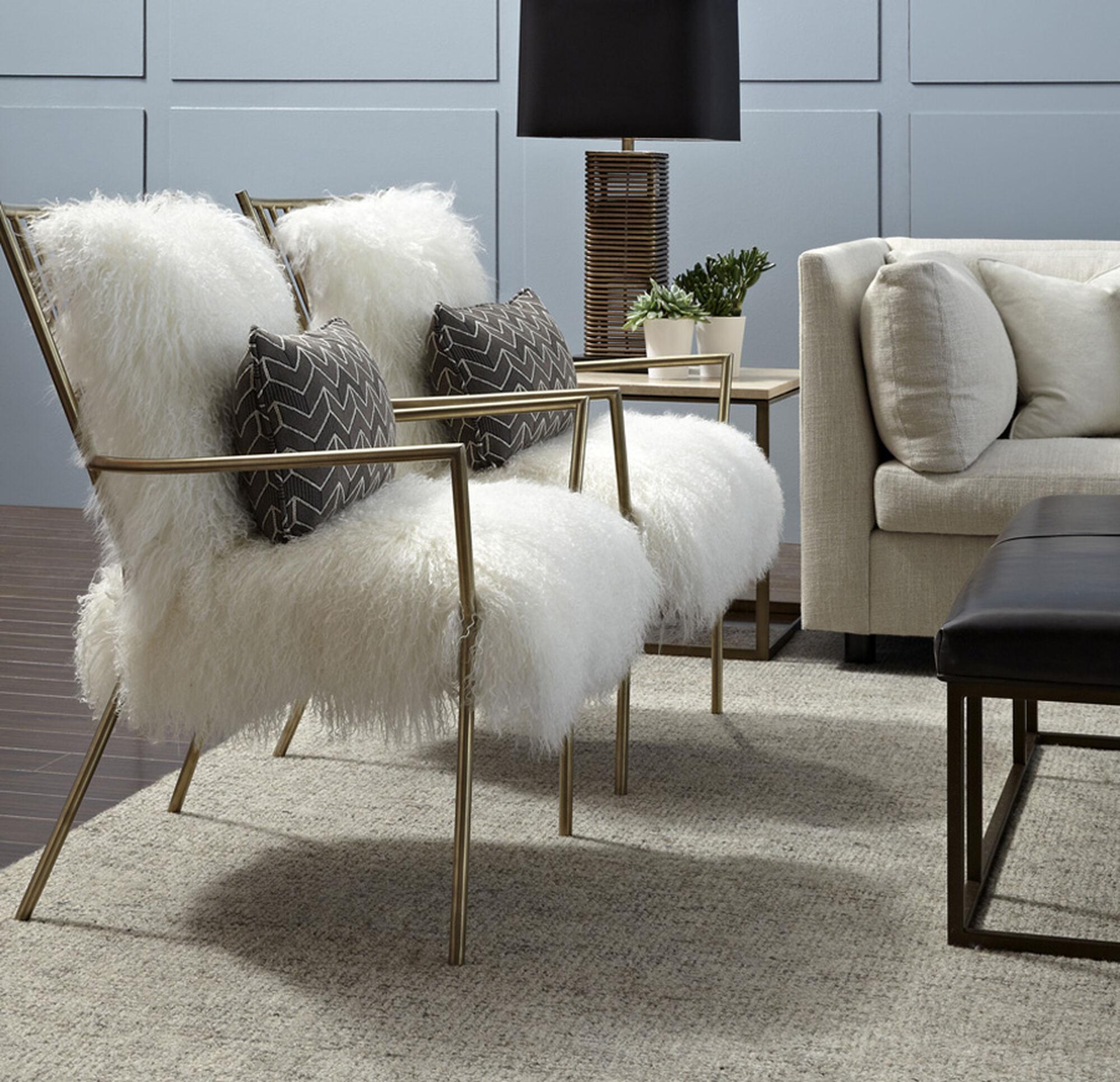 Throw Cushions For Decor Home Ansel White Tibetan Fur Chair