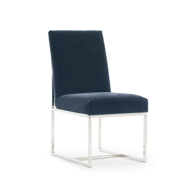 GAGE LOW DINING CHAIR, MOHAIR - BLUE, hi-res