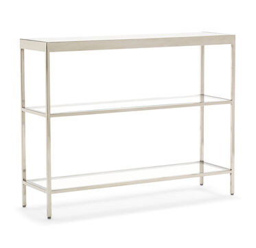 VIENNA LOW BOOKCASE SMALL - POLISHED STAINLESS STEEL, , hi-res