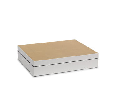 GOLD AND WHITE LACQUER STATIONERY BOX, , hi-res