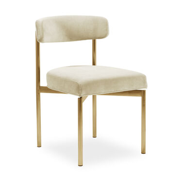 REMY DINING CHAIR - BRUSHED BRASS, BOULEVARD - ECRU, hi-res