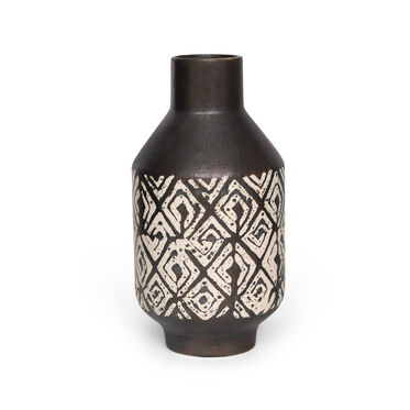 BLACK METALLIC & WHITE VASE - LARGE, , hi-res