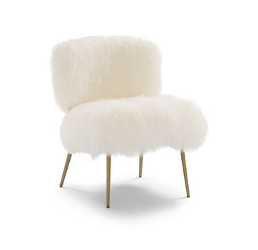 FIFI TIBETAN WOOL CHAIR, TIBETAN FUR - WHITE, hi-res