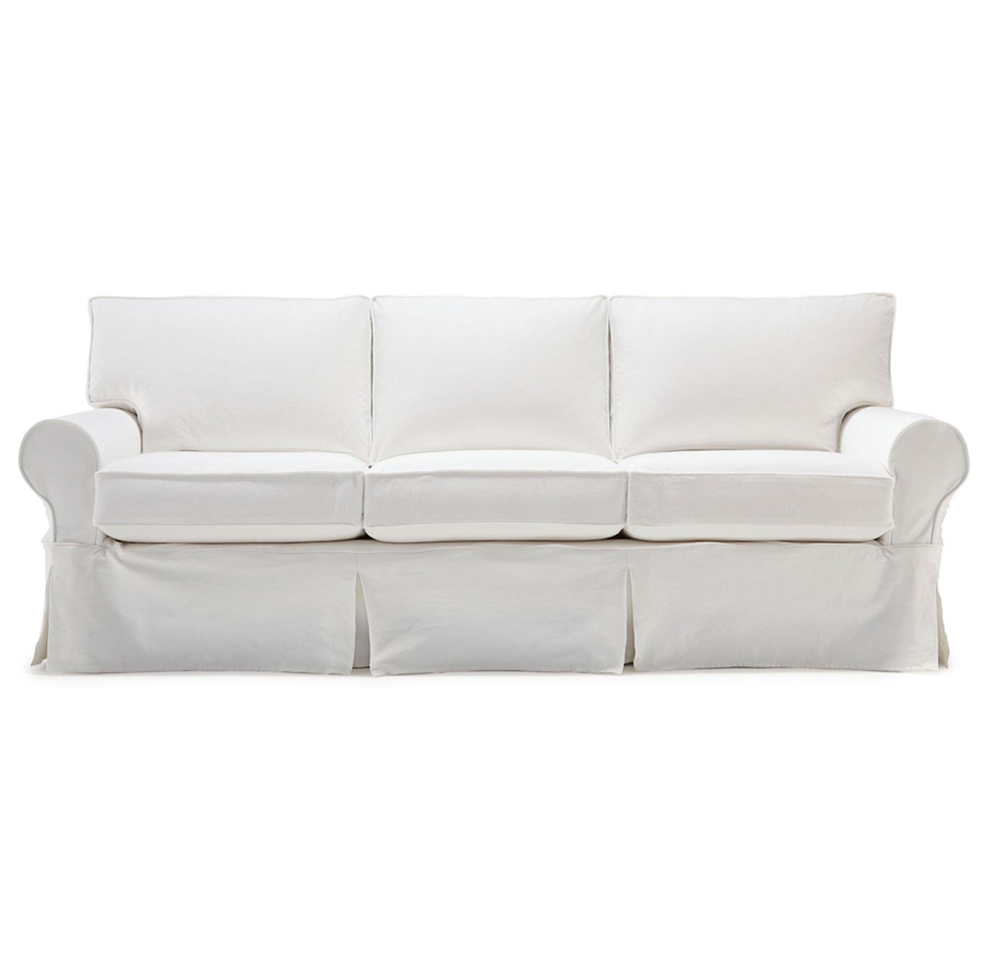 Alexa Ii Luxe Queen Slipcover Sleeper Sofa Bull Denim White Hi Res