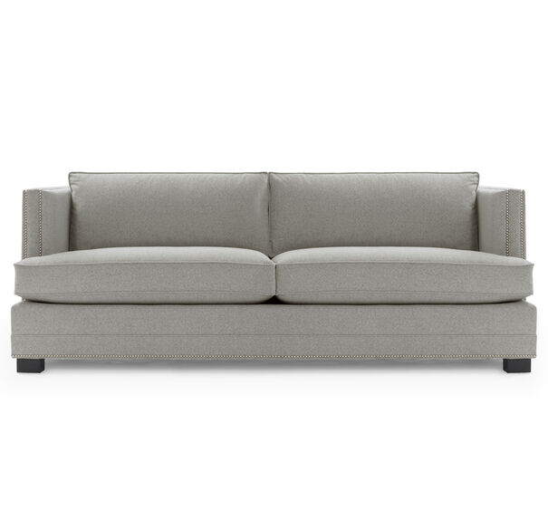 KEATON SHELTER ARM SOFA CLASSIC DEPTH WITH NAILHEAD, FULMER - PEWTER, hi-res