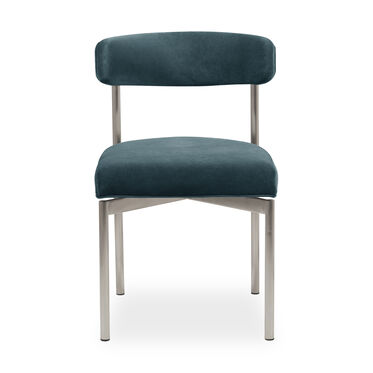 REMY DINING CHAIR - BRUSHED STAINLESS STEEL, BOULEVARD - AGEAN, hi-res