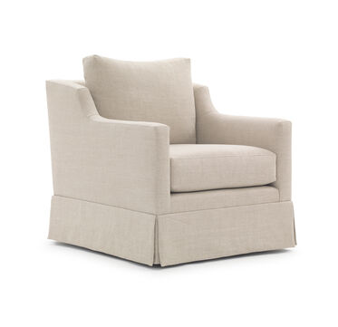 GIGI SKIRTED RETURN SWIVEL CHAIR, BELGIAN LINEN - OATM, hi-res