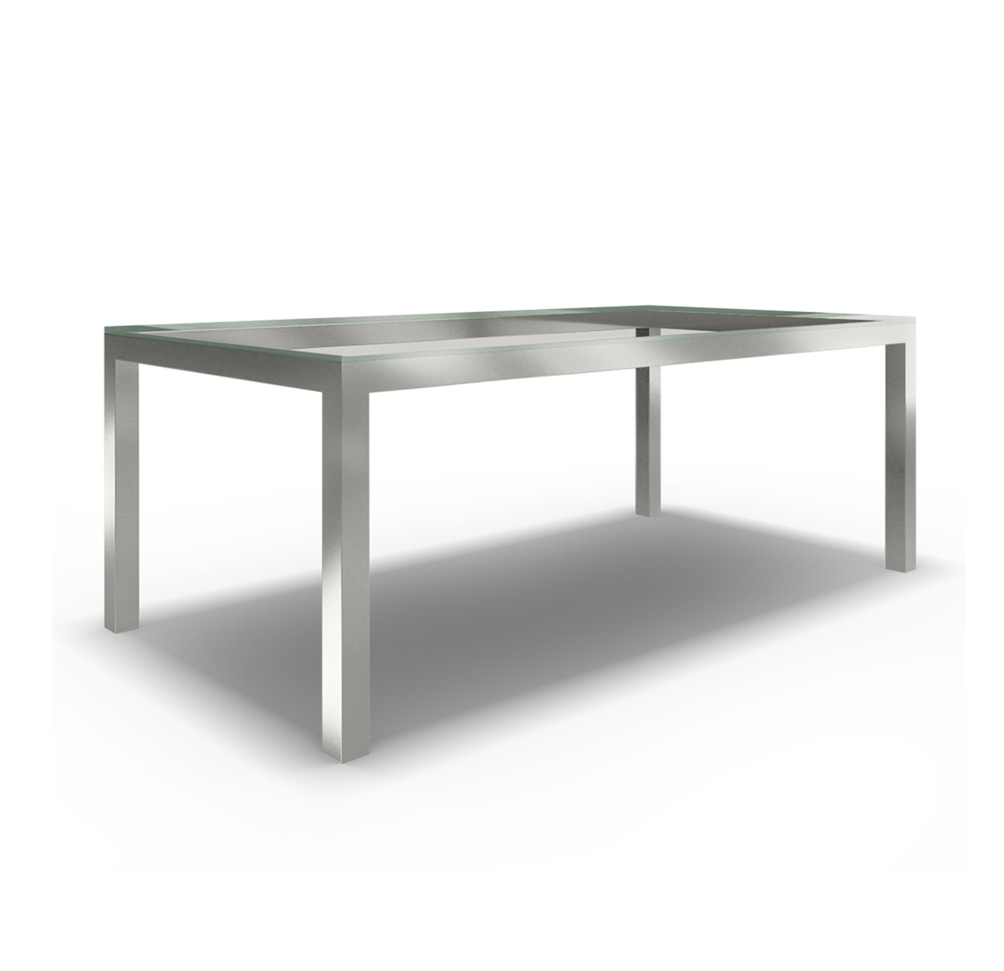 CLASSIC PARSONS DINING TABLE POLISHED STAINLESS STEEL