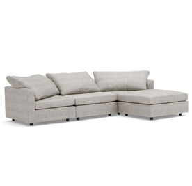 BIG EASY 4 PC SECTIONAL, Sunbrella Performance Textured Two-Tone Linen - SILVER                             , hi-res