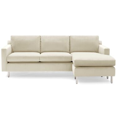 HUNTER STUDIO NO WELT RIGHT CHAISE SECTIONAL, PIPPIN - CREAM, hi-res
