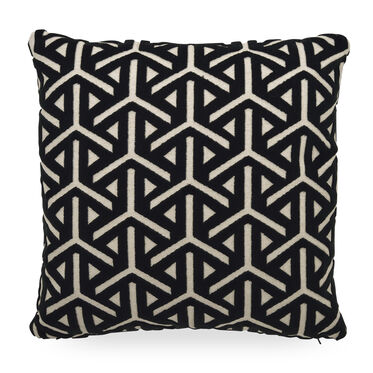 "VELVET 21"" X 21"" ACCENT PILLOW, REAVE - EBONY, hi-res"