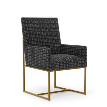 GAGE LOW ARM DINING CHAIR - BRUSHED BRASS, DOT DASH - GRAPHITE, hi-res
