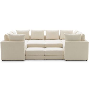 DR. PITT 7-PC SECTIONAL SOFA, SHERPA - NATURAL, hi-res