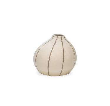 CREAM AND BEIGE STRIPED VASE, , hi-res