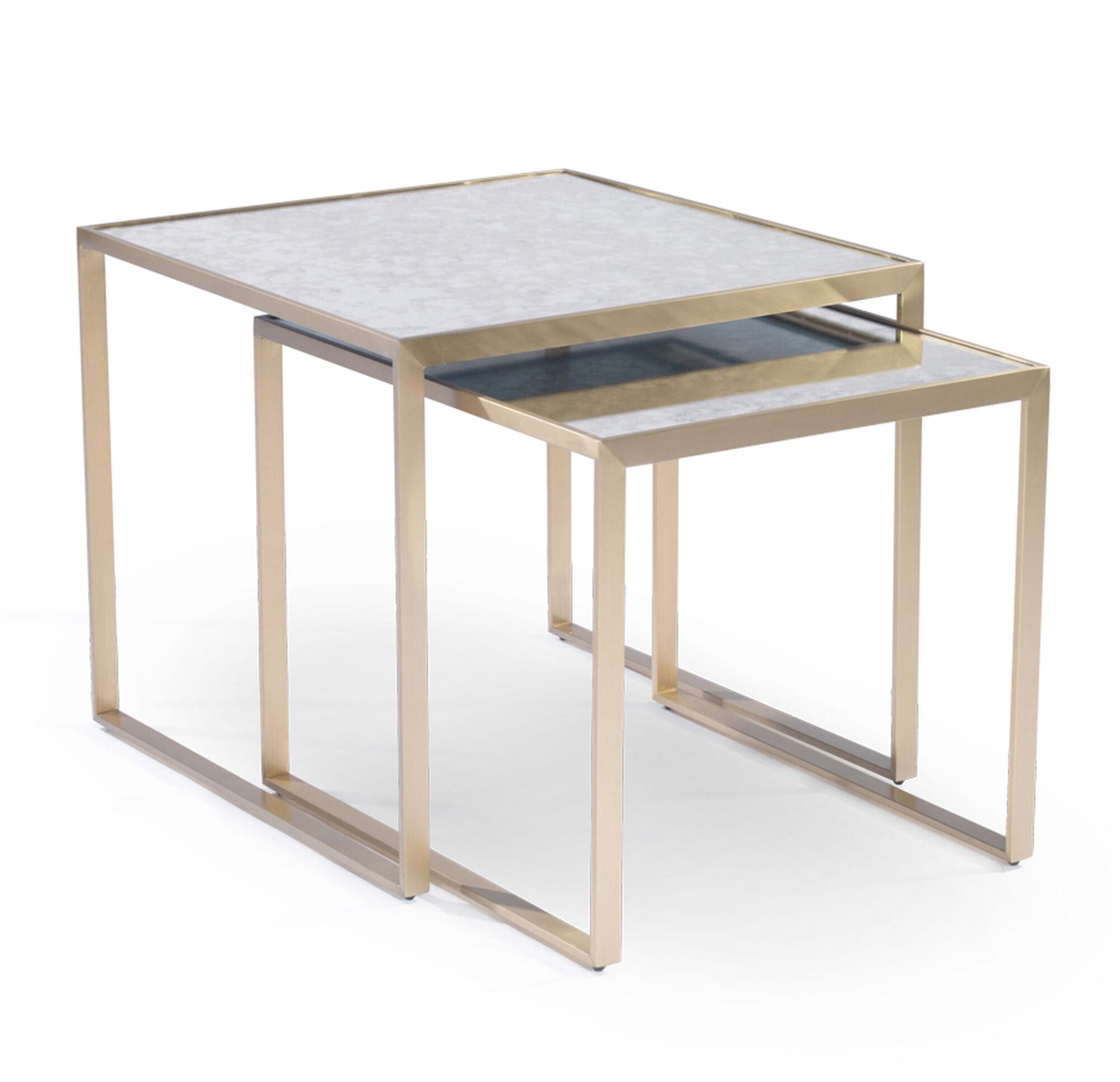 nesting end tables. ASTOR NESTING SIDE TABLE - BRASS, , Hi-res Nesting End Tables