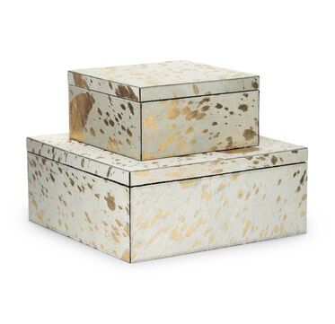 GOLD ON WHITE HIDE 2 PIECE BOX SET, , hi-res