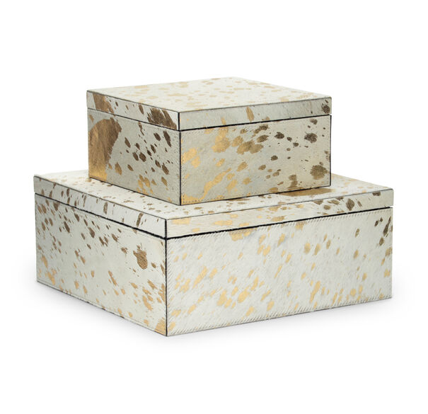 GOLD ON WHITE HIDE 2 PIECE BOX SET, , hi-res