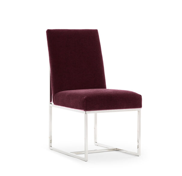 GAGE LOW DINING CHAIR, MOHAIR - CORDOVAN, hi-res