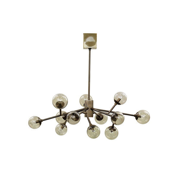 SAVOY CHANDELIER - VINTAGE BRASS WITH SMOKE GLASS, , hi-res
