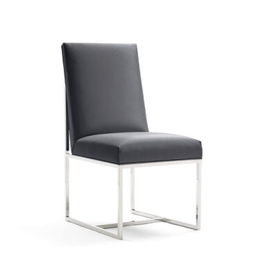 GAGE LOW DINING CHAIR - POLSIHED STAINLESS STEEL, KOKO - CHARCOAL, hi-res