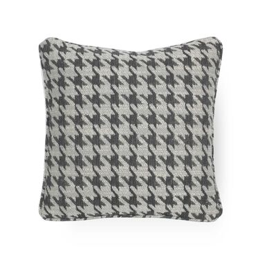 17 IN. SQUARE THROW PILLOW, HOUNDSTOOTH - CHARCOAL, hi-res