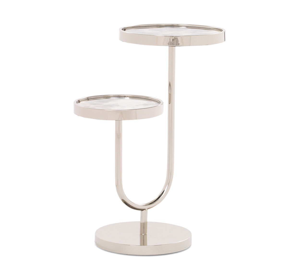 Perfect RINGO PULL UP SIDE TABLE   NICKEL, , Hi Res