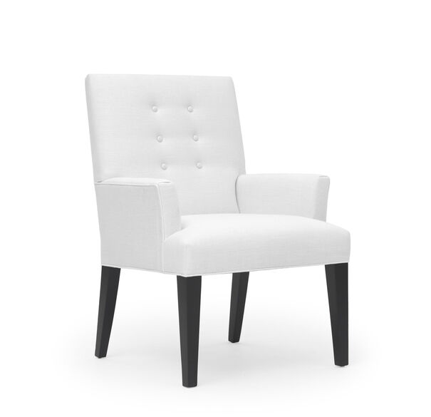 OLIVER ARM DINING CHAIR, Belgian Linen - OPTIC WHITE, hi-res
