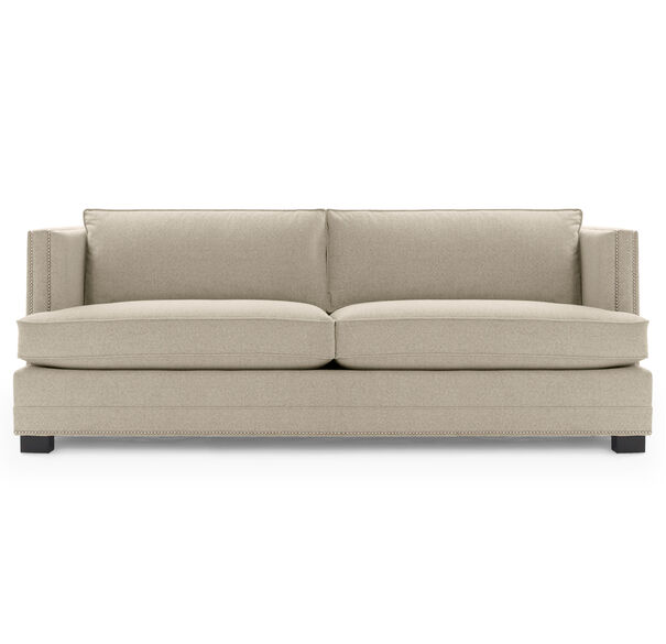 KEATON SHELTER ARM SOFA CLASSIC DEPTH WITH NAILHEAD, FULMER - LINEN, hi-res