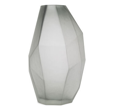 FACETED GRAY VASE, , hi-res