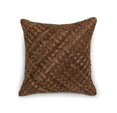 WOVEN HIDE DECORATIVE THROW PILLOW, , hi-res