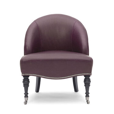 MAE LEATHER CHAIR, MONT BLANC - AUBERGINE, hi-res