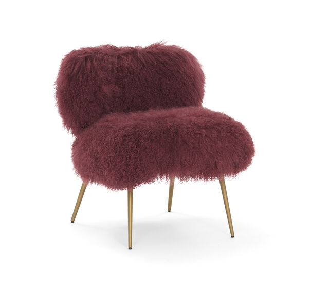 FIFI TIBETAN WOOL CHAIR, TIBETAN FUR - ORCHID, hi-res
