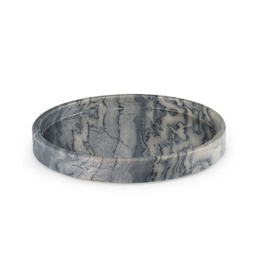 MEDIUM ROUND TRAY - GREY MARBLE, , hi-res