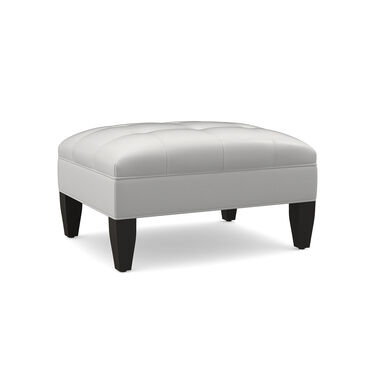 KENNEDY LEATHER OTTOMAN, TAHOE - WHITE, hi-res