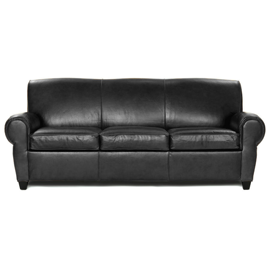 PHILIPPE LEATHER 3 SEAT SOFA, ROYALE   ONYX, Hi Res