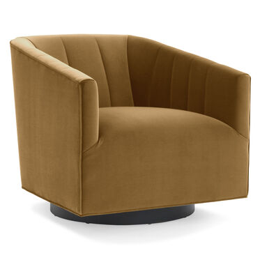 COOPER CHANNEL TUFTED SWIVEL CHAIR, VIVID - CAMEL, hi-res