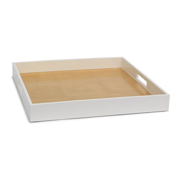 GOLD AND WHITE LACQUER SQUARE TRAY, , hi-res