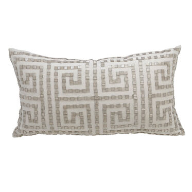 BEADED GREEK KEY THROW PILLOW, , hi-res