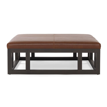 PATTERSON LEATHER LARGE SQUARE OTTOMAN, , hi-res