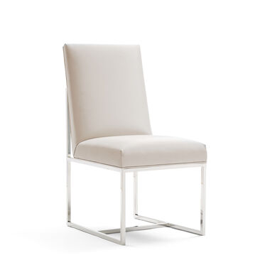 GAGE LOW DINING CHAIR - POLISHED STAINLESS STEEL, KOKO - WHITE, hi-res
