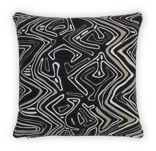 "SUNBRELLA 22"" X 22"" ACCENT PILLOW, MOLA CLOTH - ONYX, hi-res"
