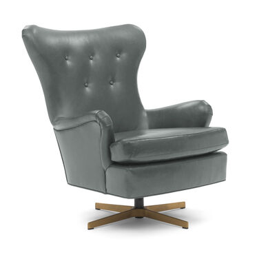 ORSON LEATHER SWIVEL CHAIR, MONT BLANC - WOLF, hi-res