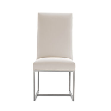 GAGE TALL DINING CHAIR - BRUSHED STAINLESS STEEL, KOKO - WHITE, hi-res