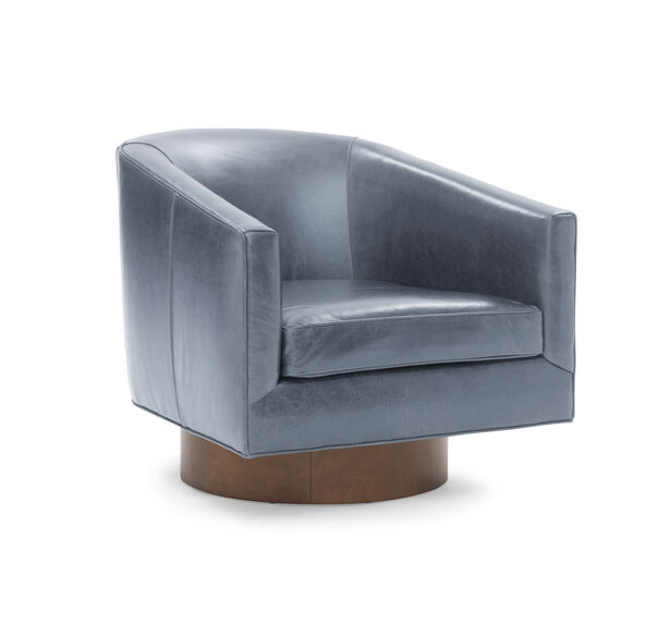 BIANCA RETURN SWIVEL LEATHER CHAIR, MONT BLANC - IRON, hi-res