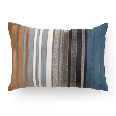 MULTI HIDE STRIPE AZURE PILLOW, , hi-res